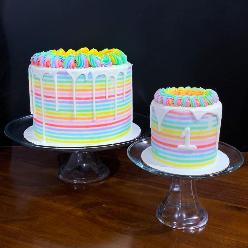 Rainbow Stripes Cake and Smash Cake
