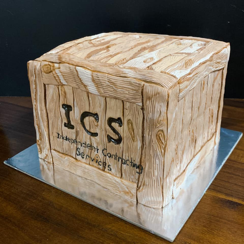 Business Logo Wood Crate Cake