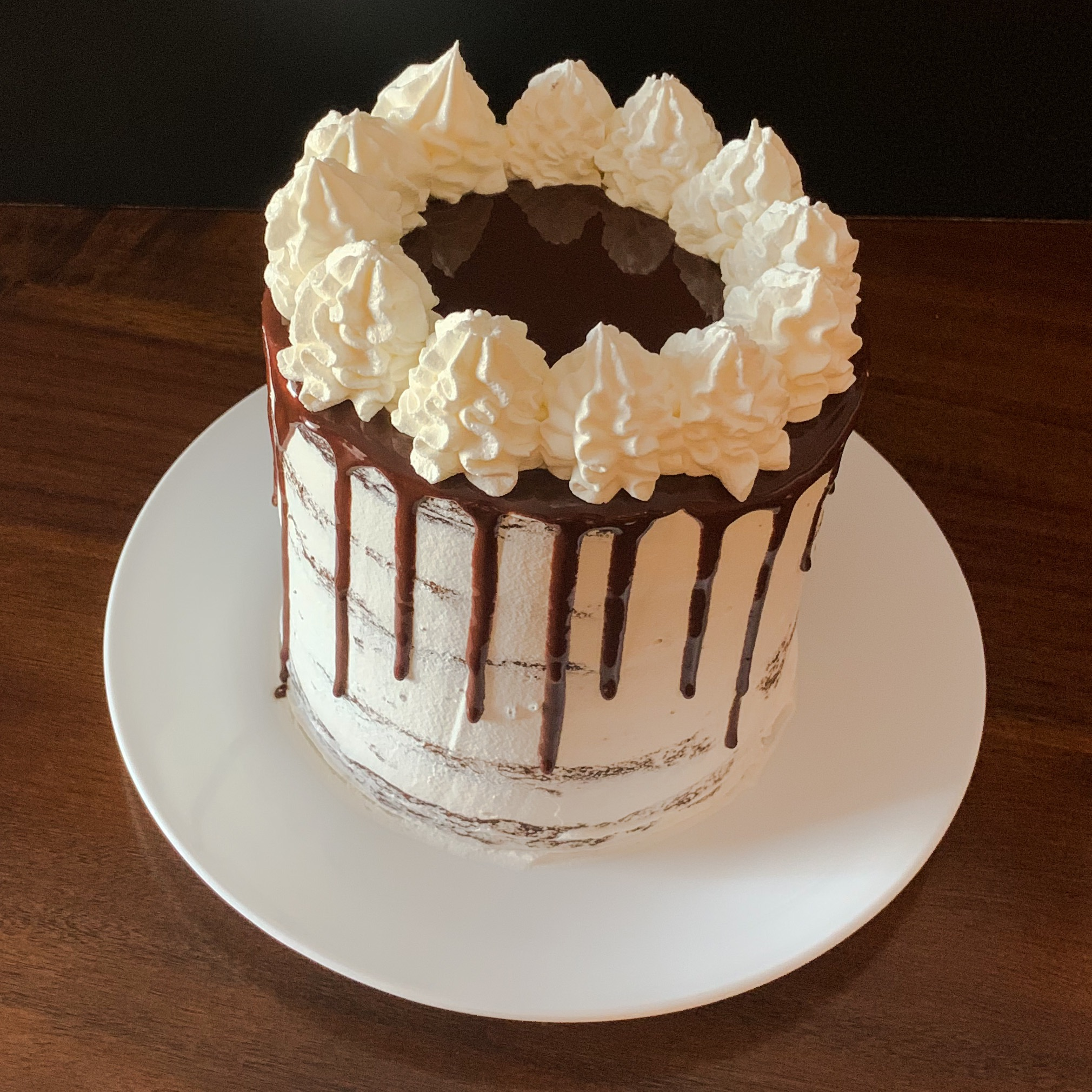 Fudge Drip Chocoalte Cake with Whipped Topping