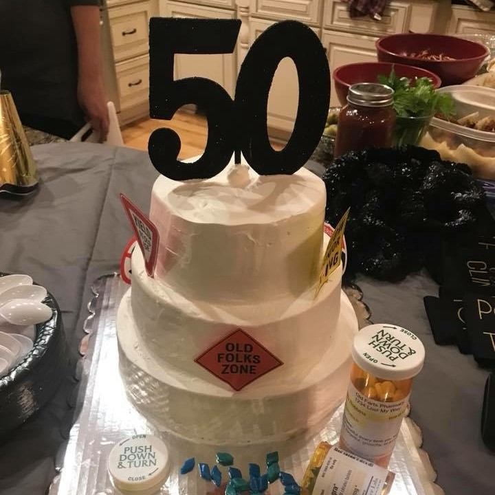 50th Birthday Chocolate Cake with Whipped Topping